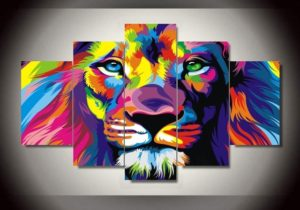 5-Pcs-Set-Frame-Abstract-color-lion-Painting-HD-prints-Canvas-Modern-Wal...